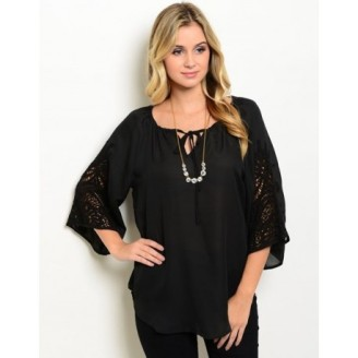 black-polyester-bell-sleeve-top